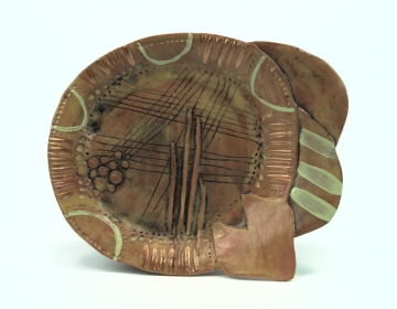 "Ochre plate 2014 1.5"" x 8"" x 10"" Handbuilt earthenware with stain and glaze fired to cone 2 and china paint"