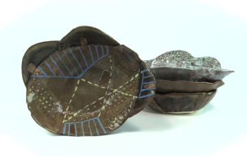 "Ochre petal bowl 2014 6"" x 7"" x 4"" Handbuilt earthenware with stain and glaze fired to cone 2 and china paint"